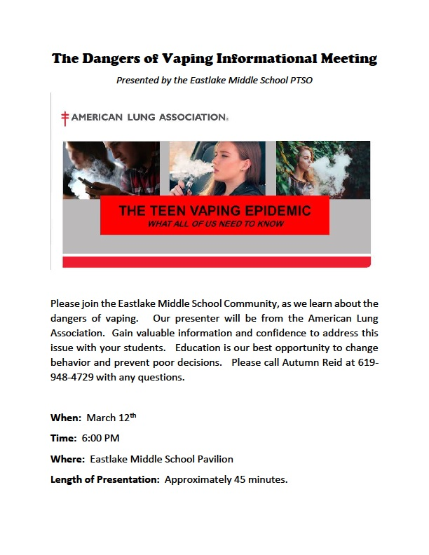 Dangers of Vaping Informational Meeting - March 12, 2019